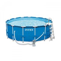 Piscine tubulaire metal frame intex ronde D 4.57 x 1.22 m