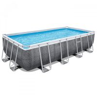 Piscine power steel rectangulaire 488 x 244 x 122 cm motif rotin gris
