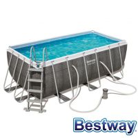 Piscine tubulaire rectangle Power Steel Swim Vista Pool Gris 4.12x2.01xH.1.22m
